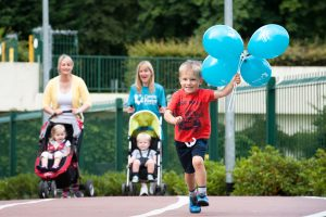 Patrick Smith (4) from Bangor races ahead of his friends and family in preparation for the Deep RiverRock Belfast City Half Marathon Fun Run on Sunday 22nd September for Cancer Focus Northern Ireland. Taking place at the Mary Peters Track, the Fun Run event will start at 9.10am and cover a distance of 1km or 2.5 laps of the track. A maximum of 200 participants can take part in the event which is suitable for all ages and abilities. The registration closing date is Sunday September 8. You can support Cancer Focus by signing up at www.belfastcitymarathon.com. For more information please contact the Half Marathon Team on belfastmarathon@cancerfocusni.org or call Maeve, Rosie or Suzi on 028 9066 3281. Like us on Facebook or follow us on Twitter @CancerFocusNI Also pictured are Roisin & Eabha (2) McGovern and Clare and Austin (2) Smith. ENDS For more information contact Louise Carey, Communications Manager at Cancer Focus Northern Ireland on 028 9068 0763 / 07884 362 749