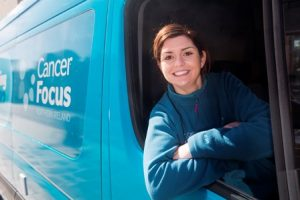 Cancer prevention officer Maresa McGettigan with the Keeping Well van