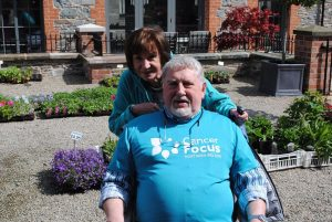 Jim Campbell with Deirdre at Comber Coffee Morning