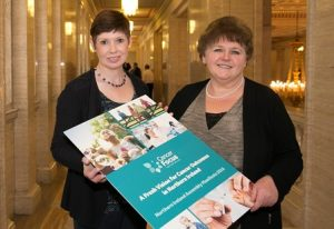 Tracy Martin (left) with Cancer Focus Ni chief Executive Roisin Foster