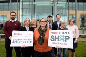 NI charities present petition to Finance Minister urging no rates for their shops.