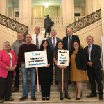 Cancer Focus NI CE Roisin Foster joins MLAs to say thank you to everyone who supported the Equal Access campaign