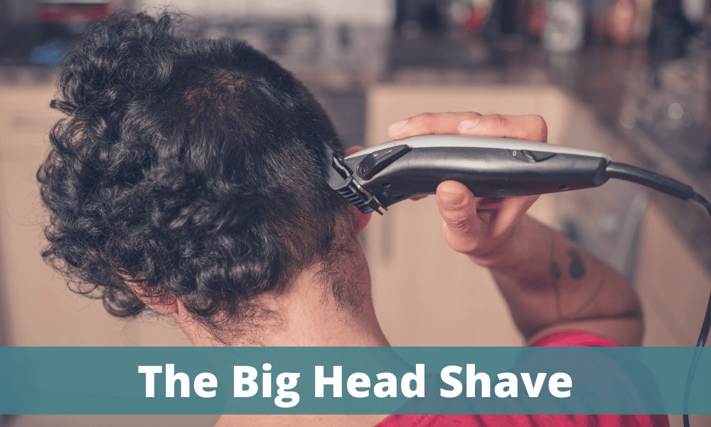 Big Head shave - man shaving the back of his head