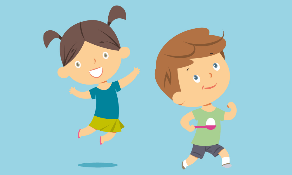 Animated children jumping and running