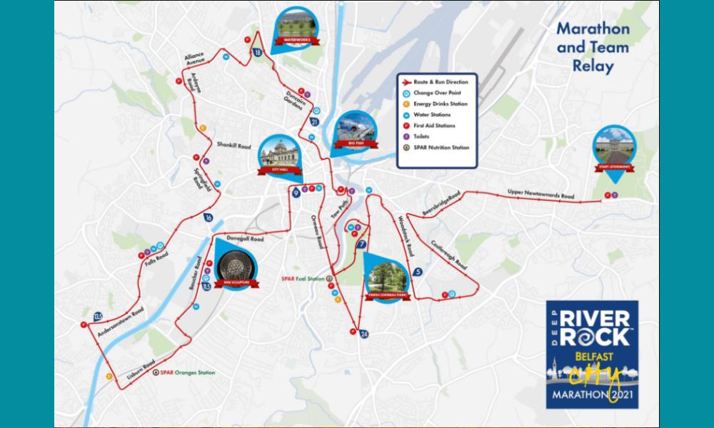 Belfast City Marathon map