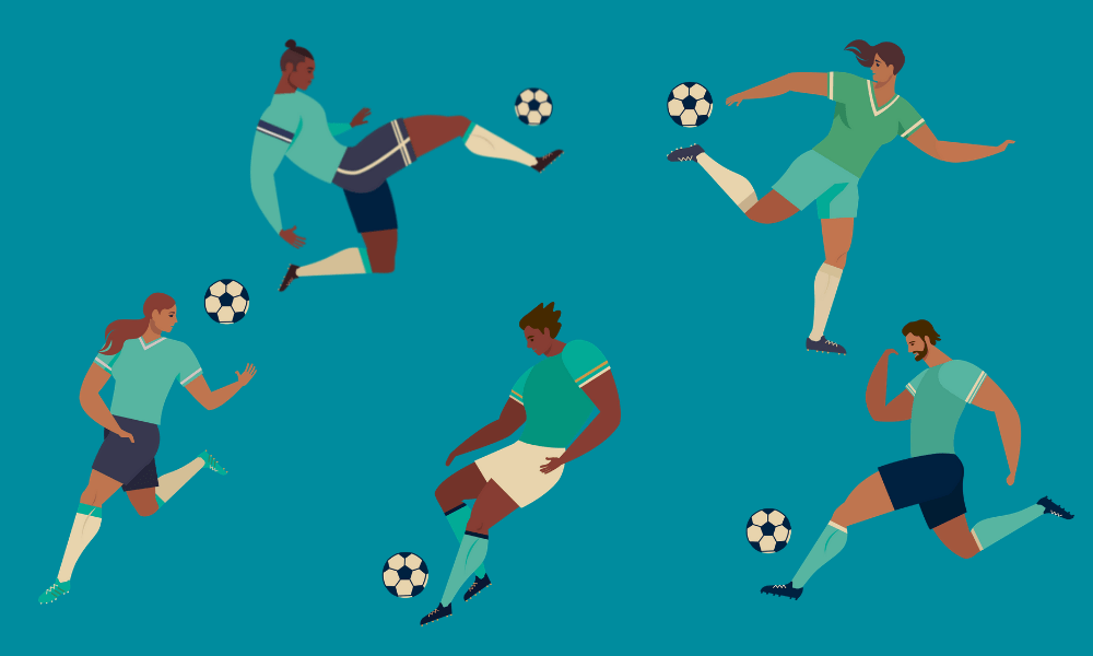 Keepy-up challenge image of five footballers