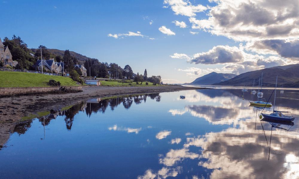 Evening reflections on Loch Linnhe, Fort William, Scotland